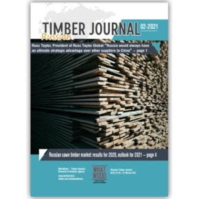 Russian Timber Journal 02-2021:interviewwith Russ Taylor, President of Russ Taylor Global;Russian sawn timber market in 2020, outlook for 2021;Metsä Fibre going ahead with € 1.6 billion Kemi bioproduct mill investment;Segezha Group acquires Novoyeniseiskiy Wood Chemical Complex;Uvadrev places an order from Siempelkamp