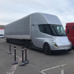 Tesla truck test for timber transport