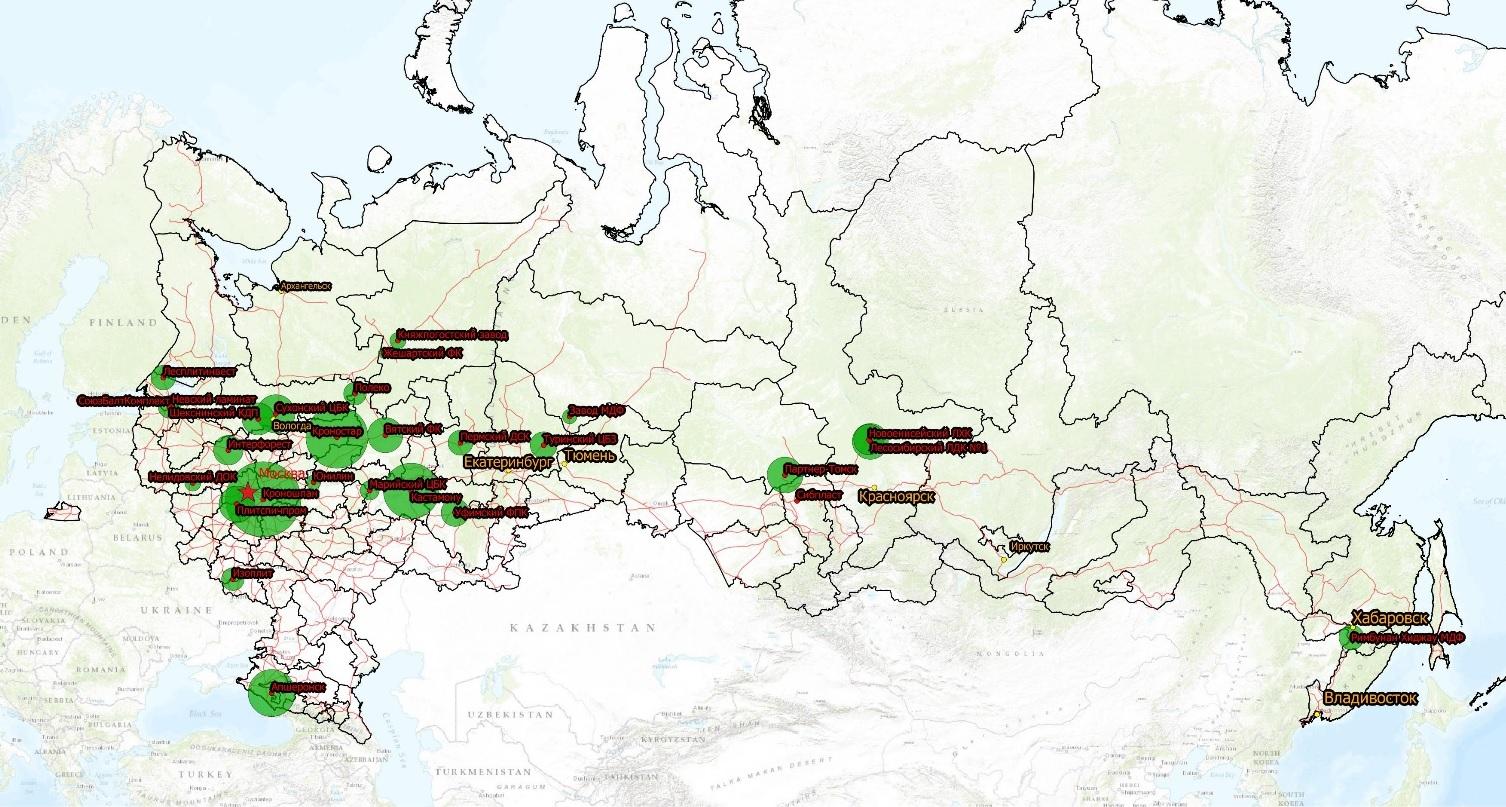 Расположение заводов по производству ДВП, MDF/HDF в России